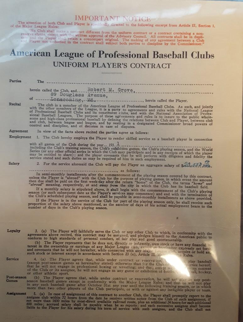 Lefty Grove's contract