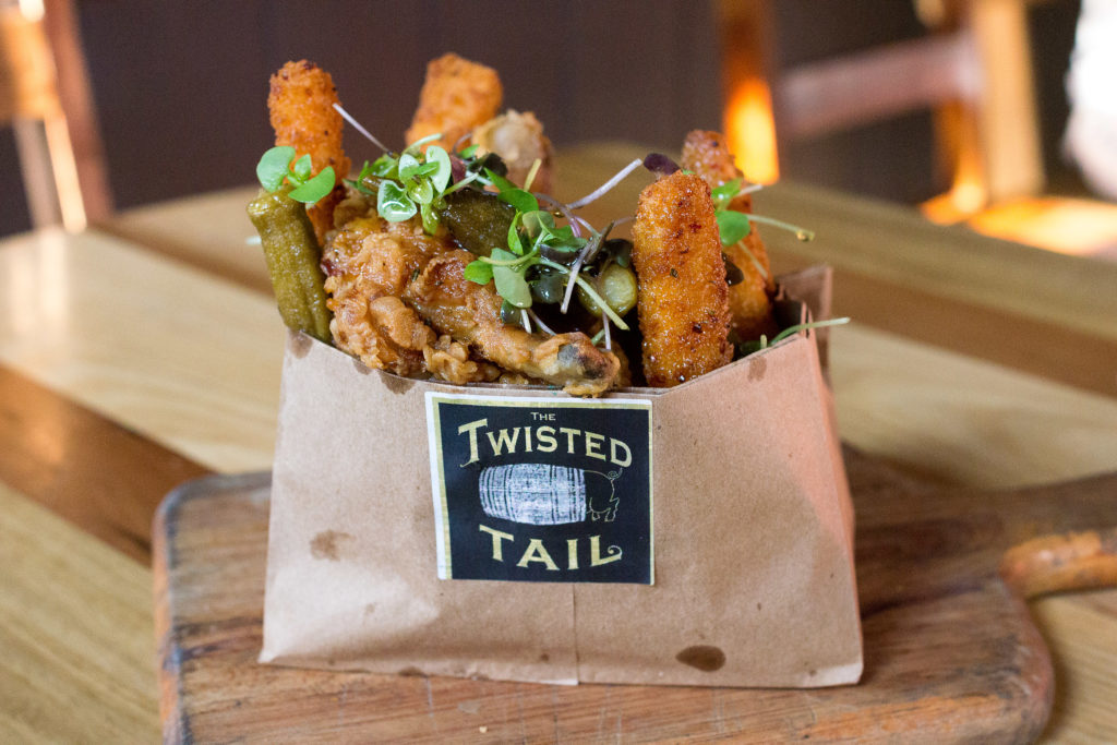 Fried chicken in a bag at the Twisted Tail