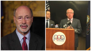 Left: Pennsylvania Gov. Tom Wolf. Right: PPA Executive Director Vince Fenerty.