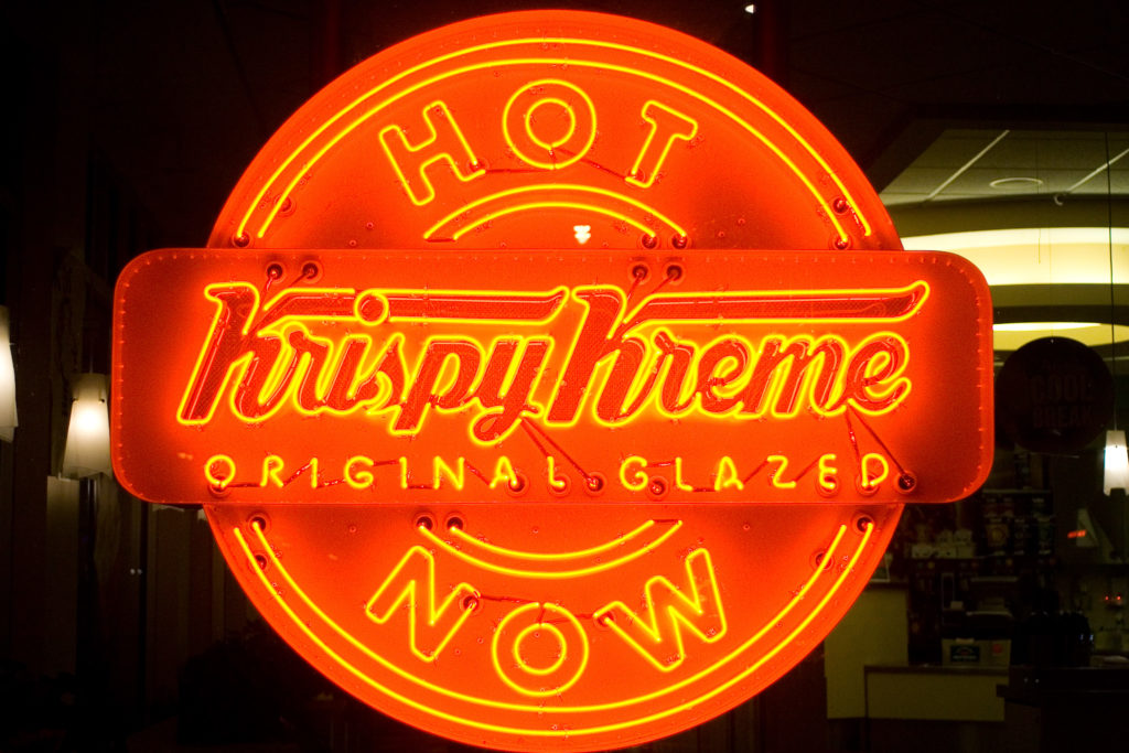 "The ""hot now"" sign at the Fox Chase store"