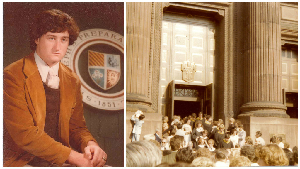 Mayor Kenney, not yet in his twenties, still a high school student at St. Joe's prep; Kenney among a throng of fellow graduates at LaSalle.