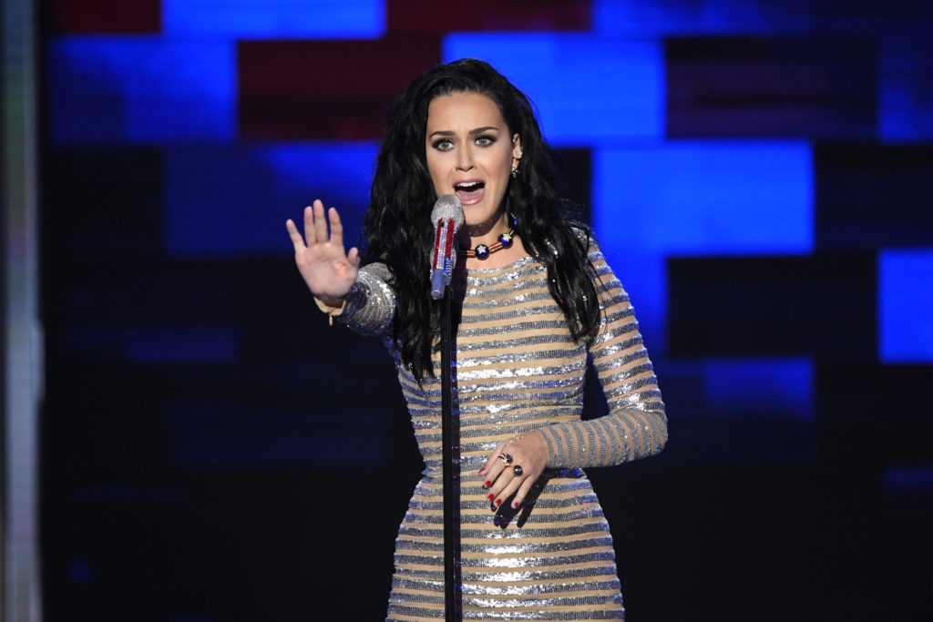 Katy Perry performs during the 2016 Democratic National Convention at Wells Fargo Center.
