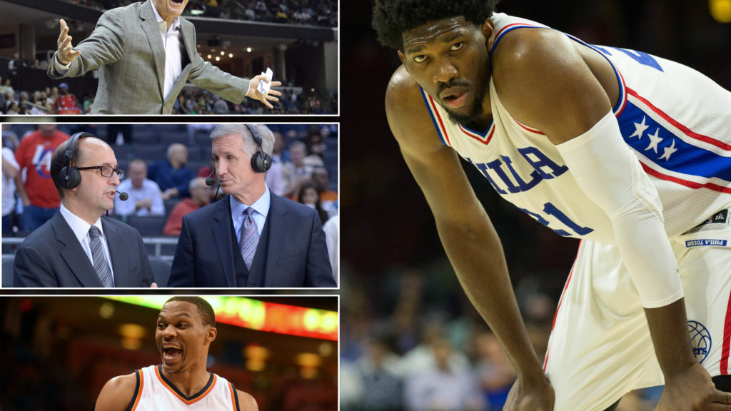Joel Embiid. Inset: Brett Brown; Jeff Van Gundy and Mike Breen; Russell Westbrook