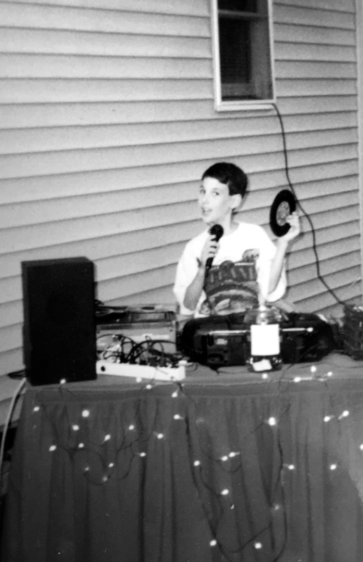 DJing a family friend's party, back in the day.