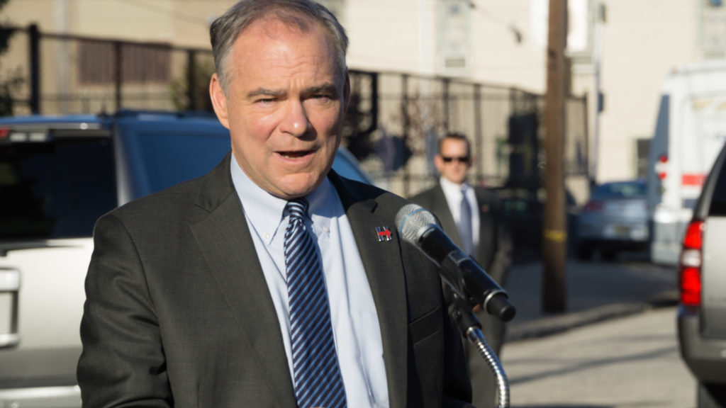 Tim Kaine speaks in front of Spring Garden School in Philadelphia, Oct. 6, 2016
