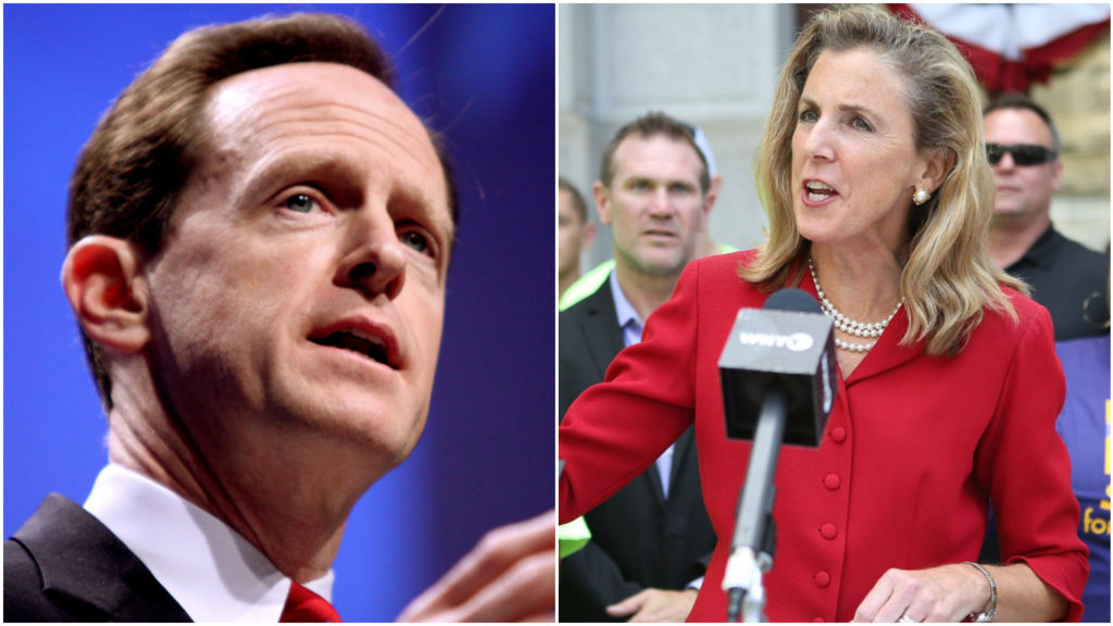 Left: Sen. Pat Toomey. Right: Katie McGinty.