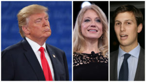 Left to right: GOP presidential candidate Donald Trump; Trump campaign manager Kellyanne Conway; Trump's son-in-law Jared Kushner.