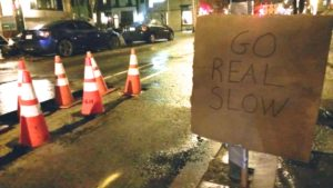A warning sign in Center City Philadelphia.