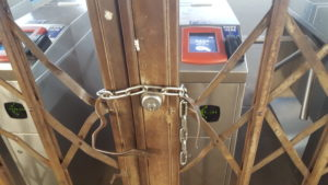 Subway turnstiles remain locked during the Transit Workers Union Local 234 strike. The union operates SEPTA's buses, trolleys and subways in Philadelphia.