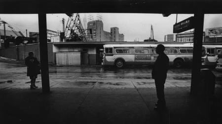 "From 1975: ""Empty buses during SEPTA strike."""
