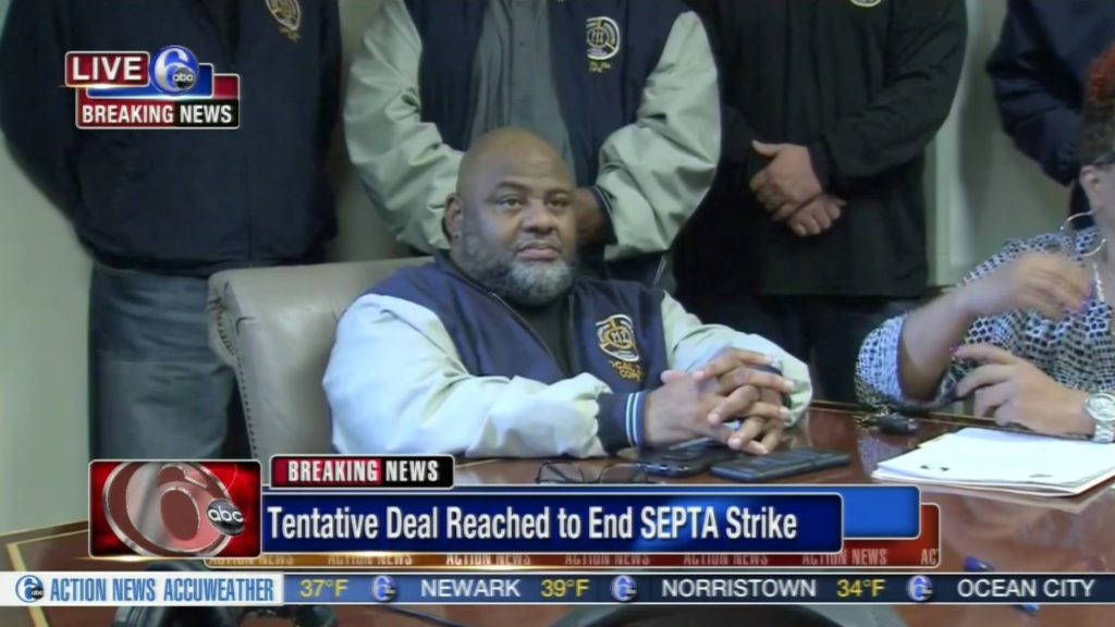 SEPTA union president Willie Brown appears at a press conference early Monday morning