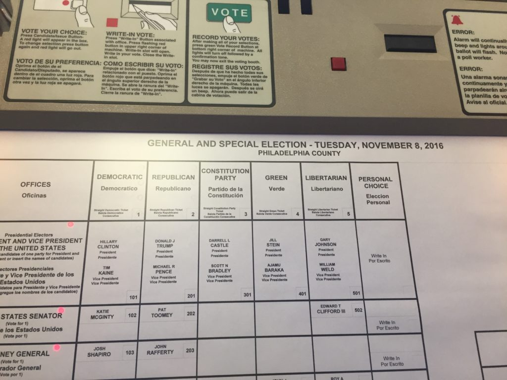 Pennsylvania voting machine