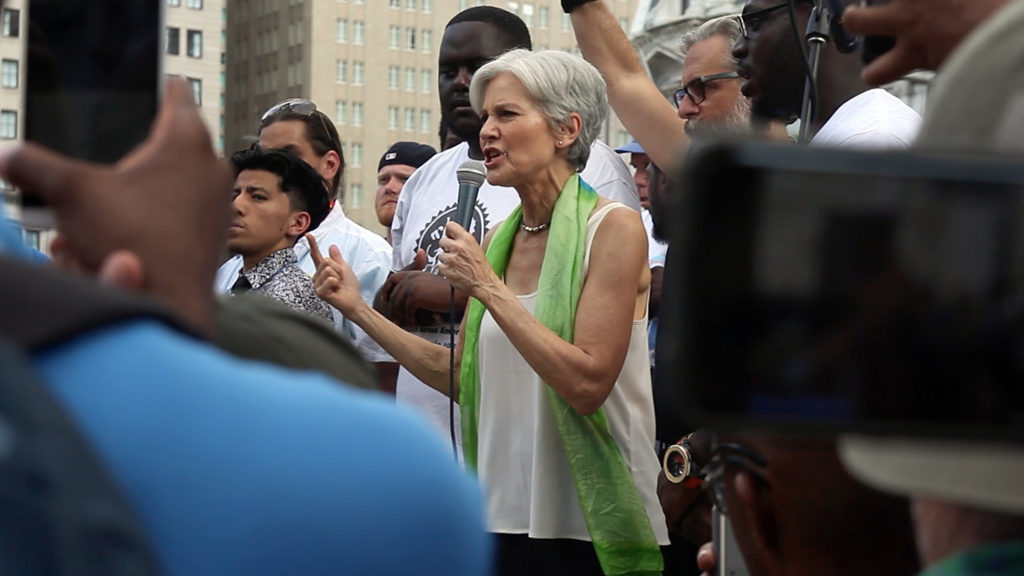 Green Party candidate Jill Stein speaks at a rally with Bernie Sanders supporters during the 2016 Democratic National Convention.