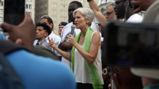 Green Party candidate Jill Stein speaks at a rally with Bernie Sanders supporters during the 2016 Democratic National Convention at Wells Fargo Arena.