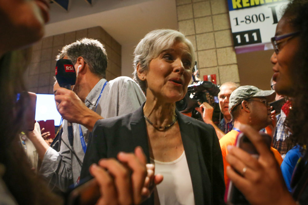 Green Party presidential candidate Jill Stein speaks to supporters while being heckled by detractors during the 2016 Democratic National Convention at Wells Fargo Arena.