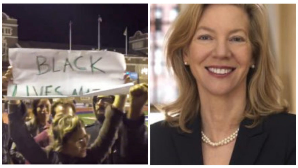 Left: Penn students protest Friday night; Right: President Amy Gutmann
