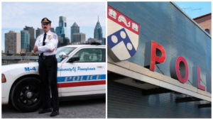 Penn police officer poses with skyline. Please note: mustache.