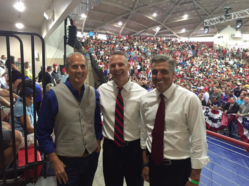 From left to right: PA Congressman Tom Marino, PA Congressman Scott Perry and PA Congressman Lou Barletta at a Donald Trump rally.