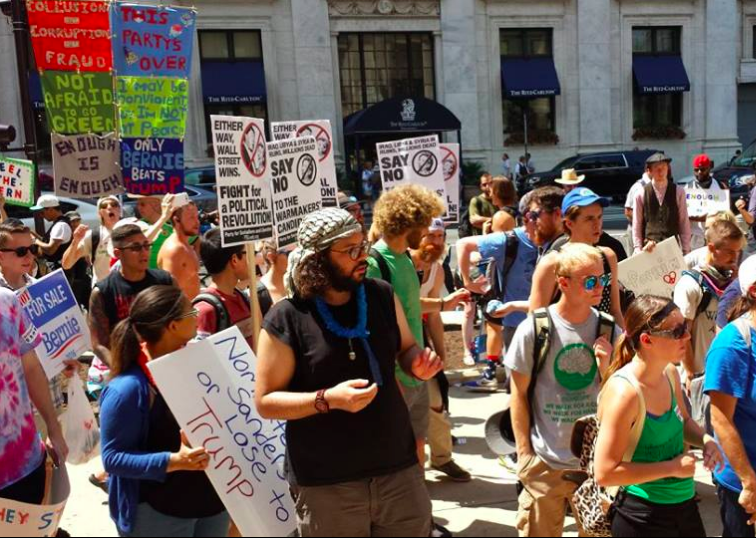 The Equality Coalition held a rally before its march on the DNC.