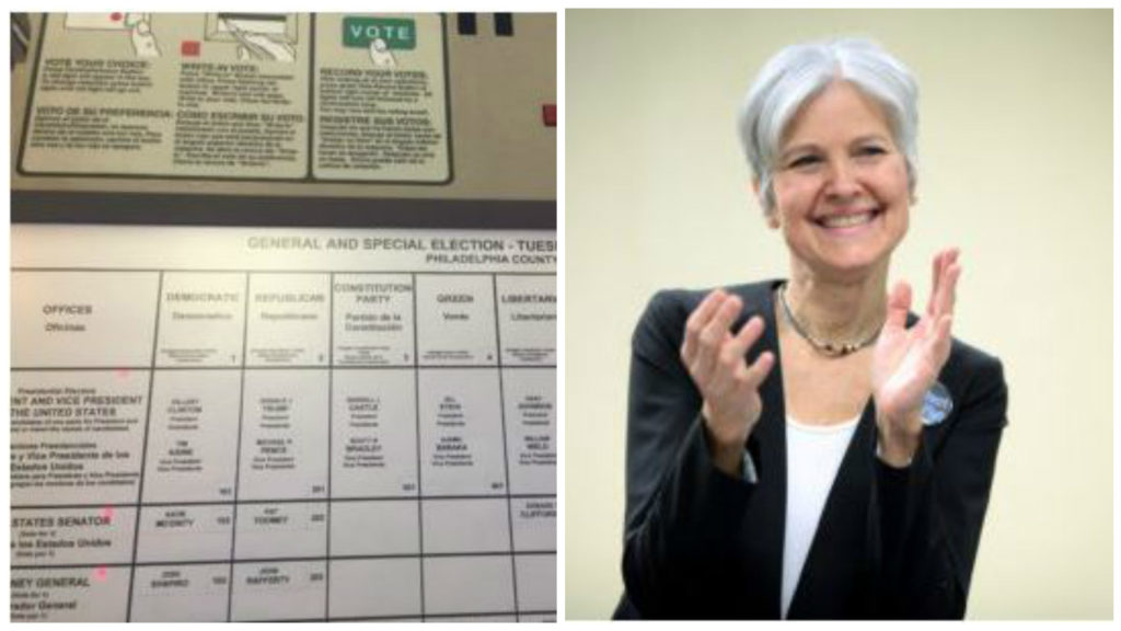 Pennsylvania voting machine and 2016 Green Party presidential candidate Jill Stein.