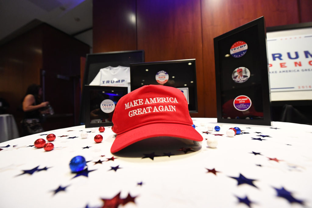 Donald Trump supporters watch the election results come in at New York Hilton Midtown on election night.