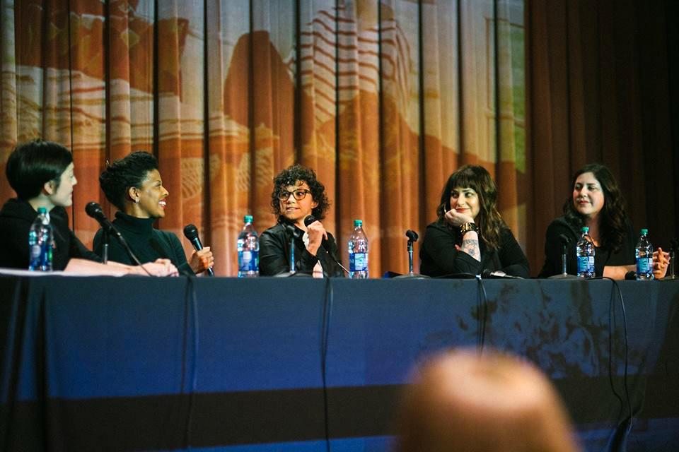 Grace Bonney, Veronica Corzo-Duchardt, Klancy Miller, Sullivan Owen and Kimberly Glyder at a Design*Sponge panel
