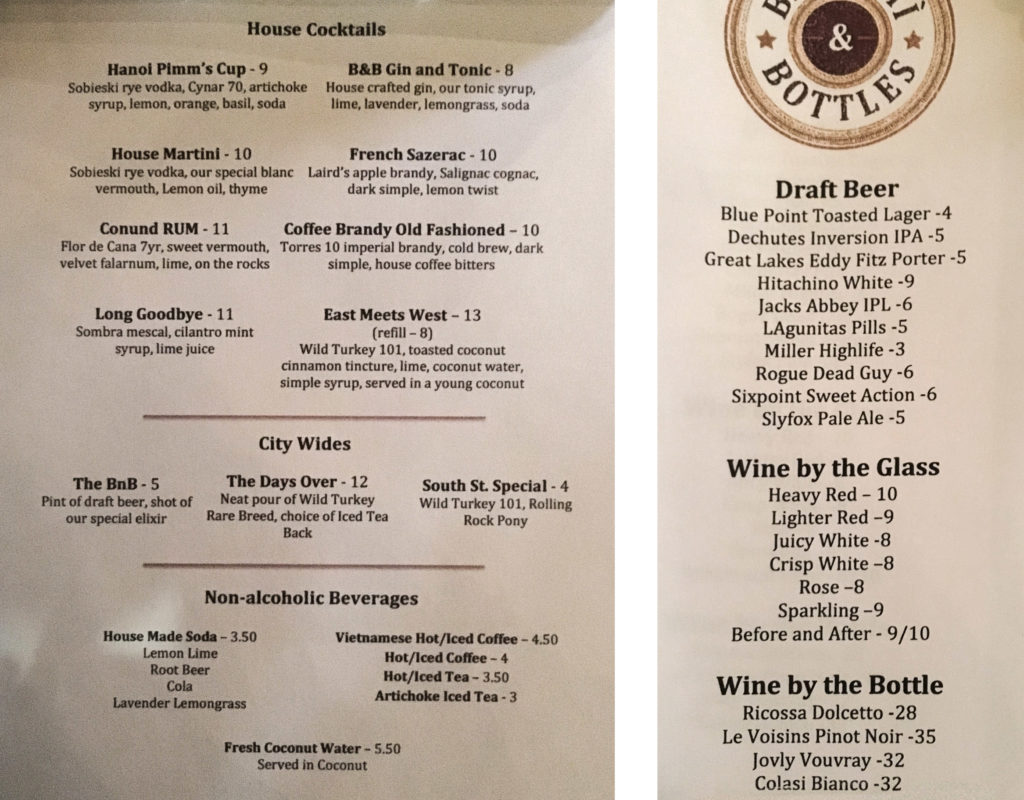 The opening drink list