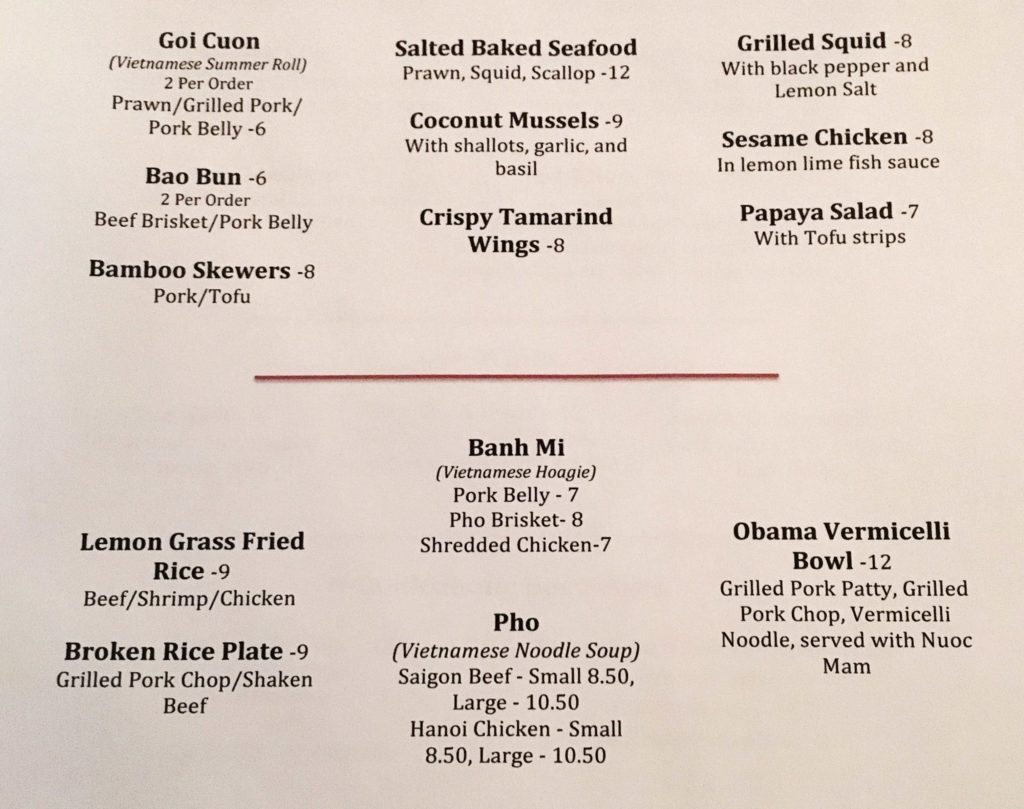 The opening food menu