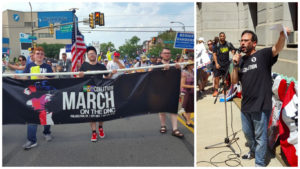 Left: Demonstrators march on the DNC. Right: Organizer Daniel Curcio speaks at a rally.