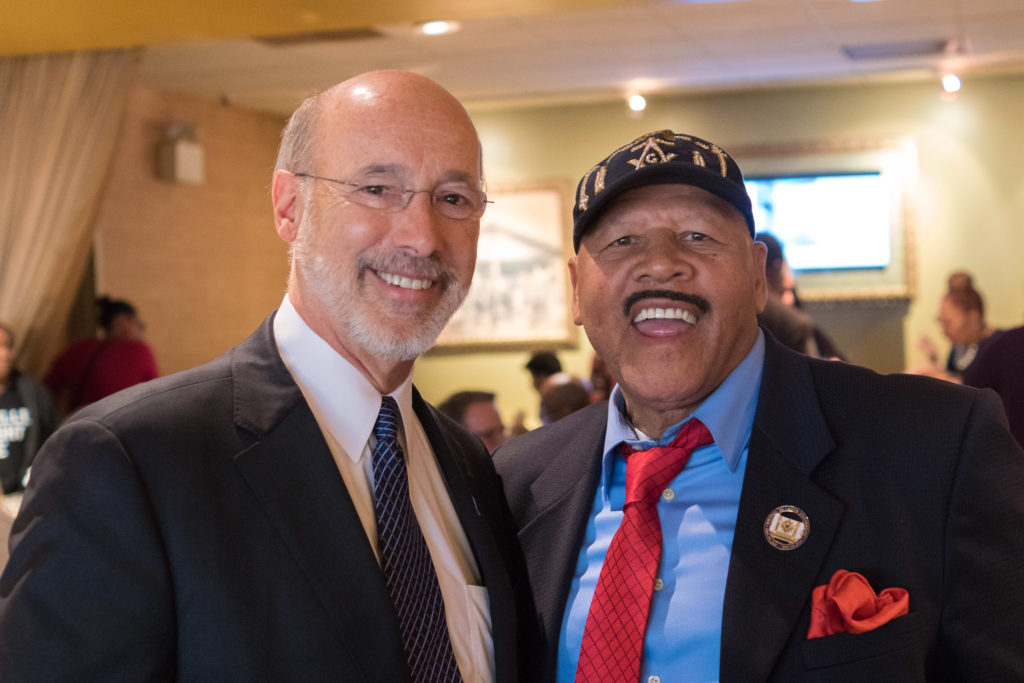 Governor Tom Wolf and good buddy Ducky Birt, assistant to Congressman Bob Brady