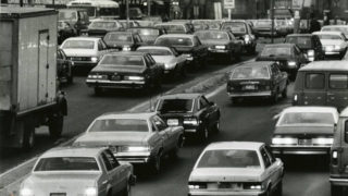 "From '81: ""This picture shows the 6th day of SEPTA transit strike rush hour traffic, on Vine Street looking east from 16th Street."""