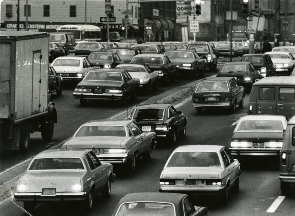 """From '81: """"This picture shows the 6th day of SEPTA transit strike rush hour traffic, on Vine Street looking east from 16th Street."""""""