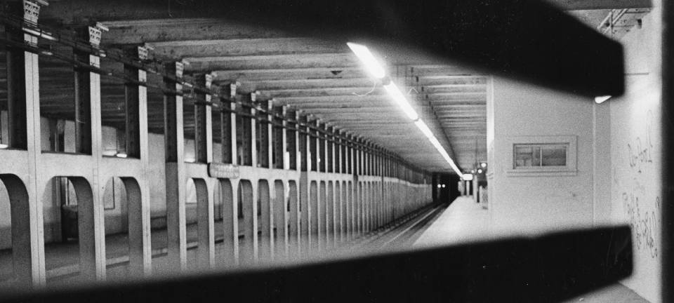 "From the '71 strike: ""Empty 15th and Market St Subway Station."""