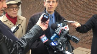 Stein campaign's lawyer Ilann Maazel took questions outside the federal courthouse in Philadelphia this morning.