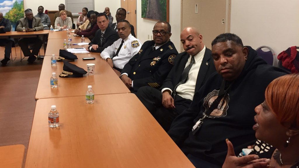 Elected officials including Attorney General-elect Josh Shapiro, Sheriff Jewel Williams and DA Seth Williams sit with Police Commissioner Richard Ross during a community forum on gun violence.