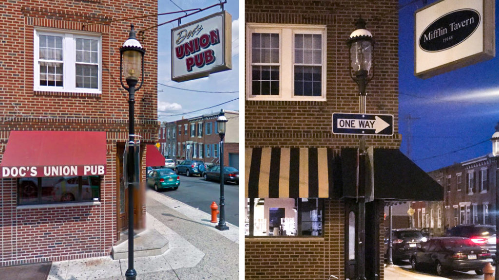 Before: Doc's Union Pub. After: Mifflin Tavern