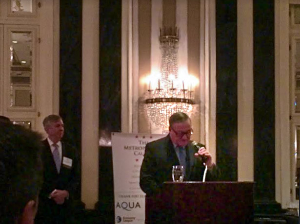 Mayor Jim Kenney address the Metropolitan Caucus Friday at Pennsylvania Society