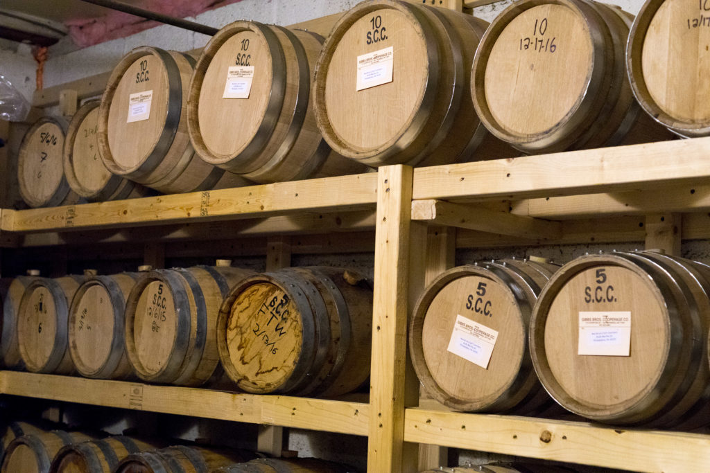 Red Brick's barrel room