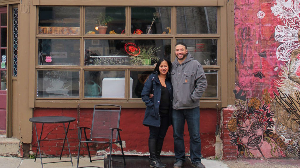 New Rocket Cat Cafe owners Debbie Anday and Jean-Paul Viera in front of their shop