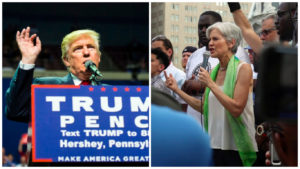 Left: President-elect Donald Trump. Right: Green Party candidate Jill Stein.