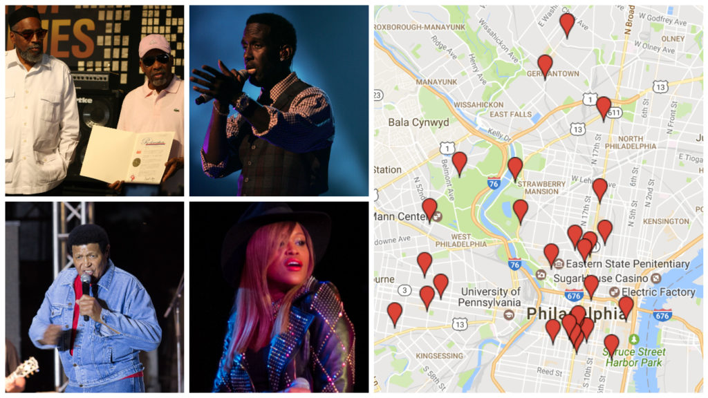 Right: Billy Penn's Black History Music Map. Left: Musicians who've made Philly proud. Clockwise from the bottom left corner: Chubby Checker, Kenny Gamble and Leon Huff, Shawn Stockman of Boyz II Men, Eve.