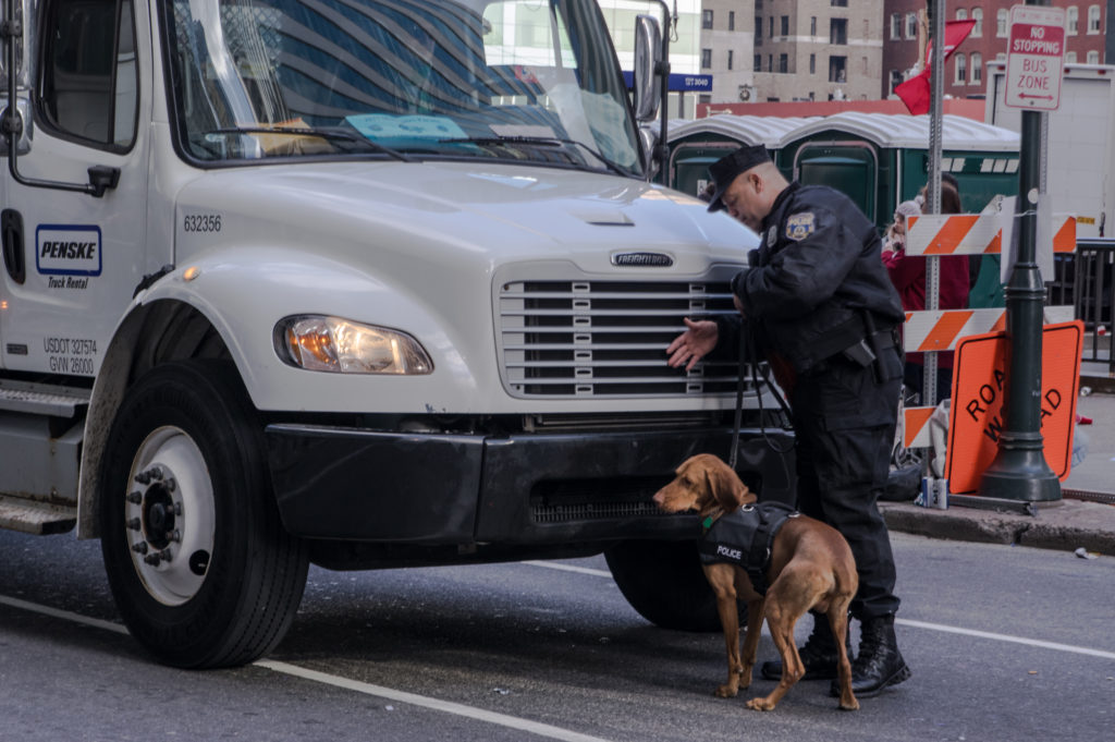 This year the police presence was more apparent. PPD used dogs and radiation detectors to check each vehicle.
