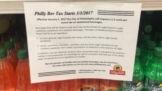 A sign hangs in a ShopRite in Philadelphia.