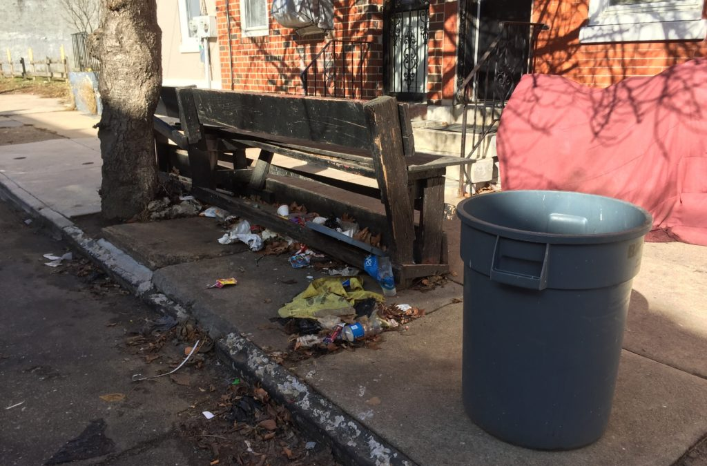 Trash piling up in the Sharswood neighborhood of North Philly