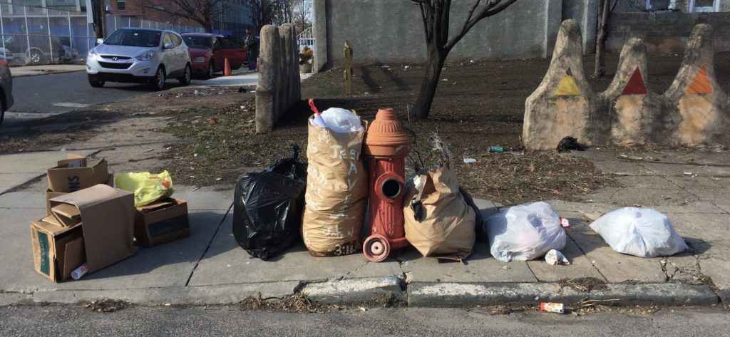 A North Philly street, full of trash