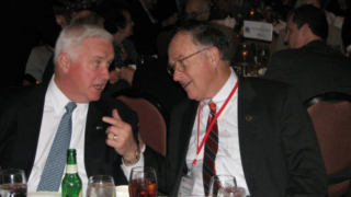 Left: Former PA Gov. Tom Corbett. Right: Outgoing PA GOP chair Rob Gleason