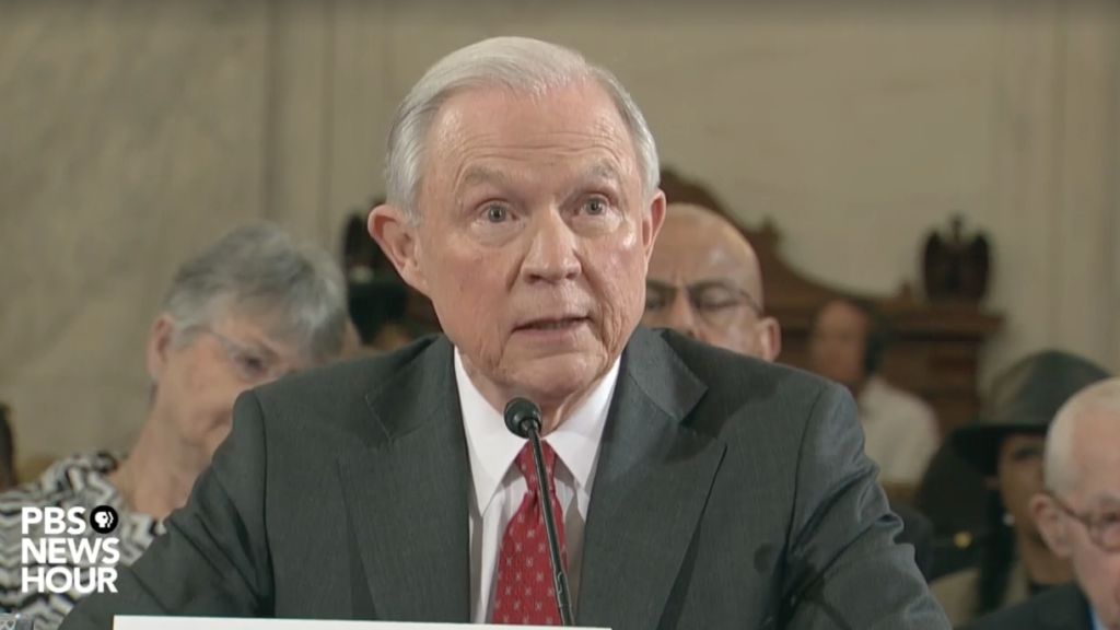 Alabama Sen. Jeff Sessions, Donald Trump's nominee for Attorney General, testifies during a Senate confirmation hearing Tuesday.