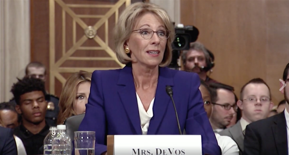 Trump's pick for Secretary of Education Betsy DeVos during a confirmation hearing this week.
