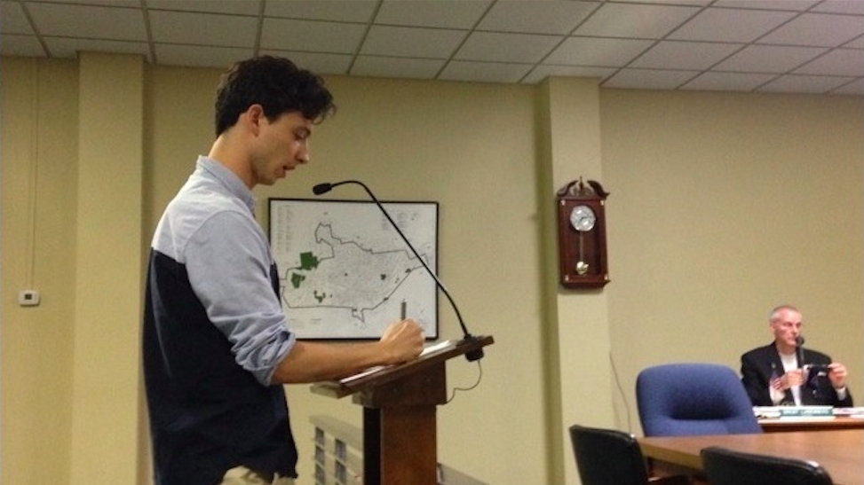 Albert Eisenberg giving testimony in favor of LGBT protections in Emmaus, PA.