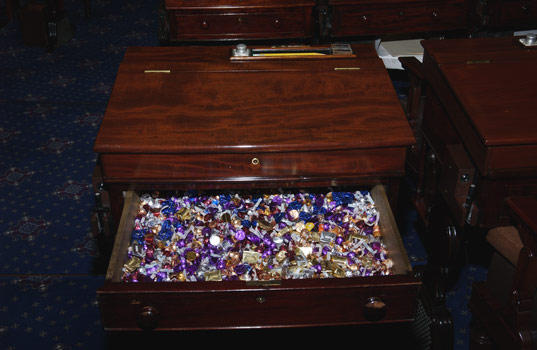 A throwback photo of the candy desk.